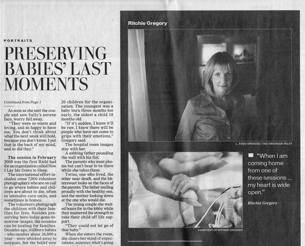 """This article entitled """"Preserving Babies' Last Moment"""" was published in the Virginia Pilot on 04-12-09 in the Sunday Break."""