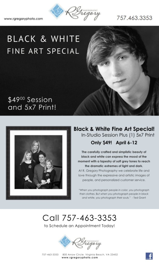 April special on Black & White photography