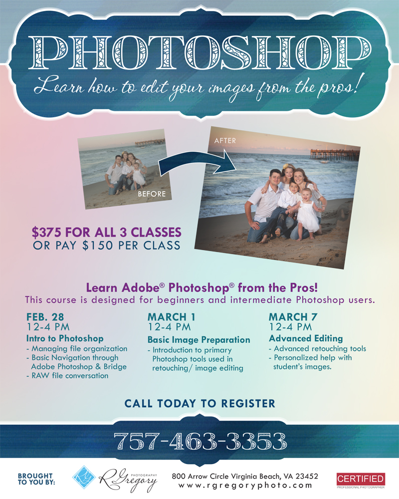 Virginia Beach Adobe Photoshop class flier