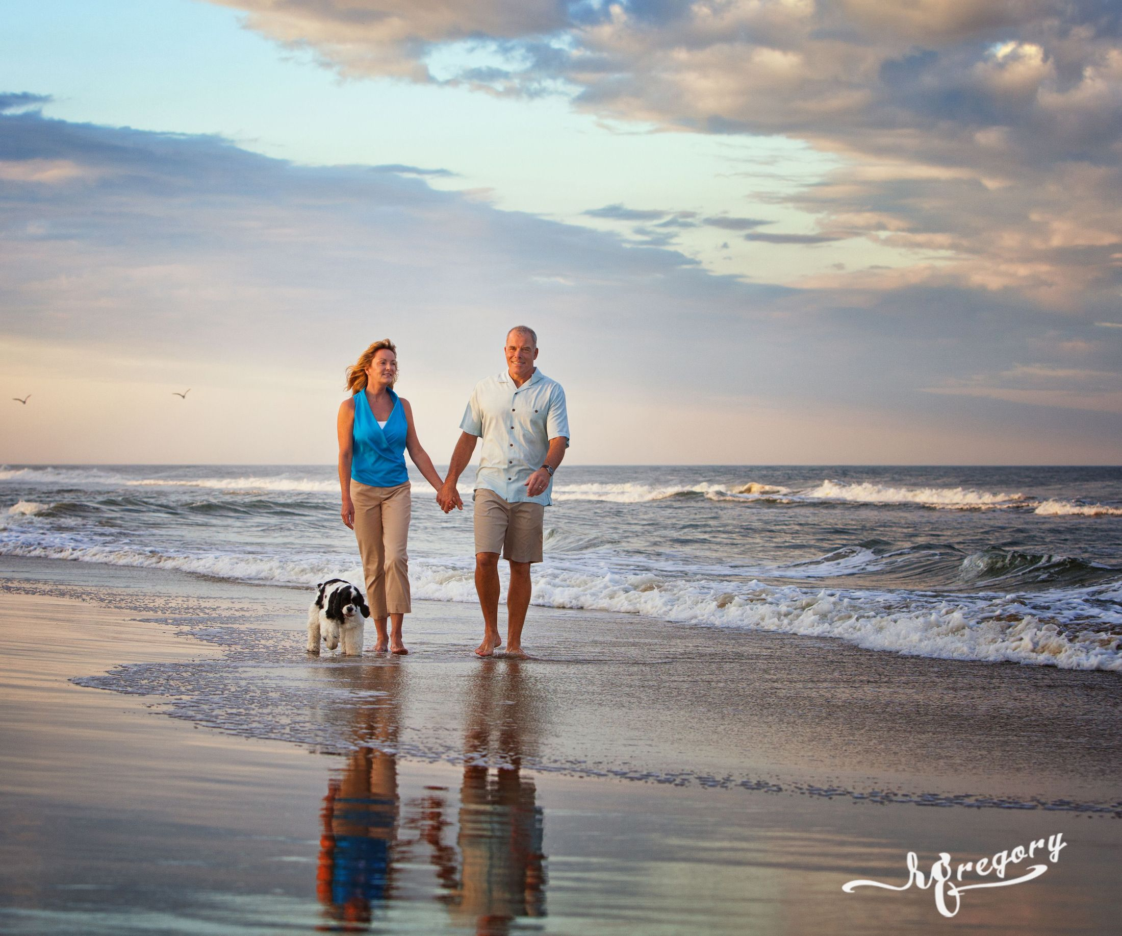 GRAHAM ART couple and dog professional sandbridge beach photographer