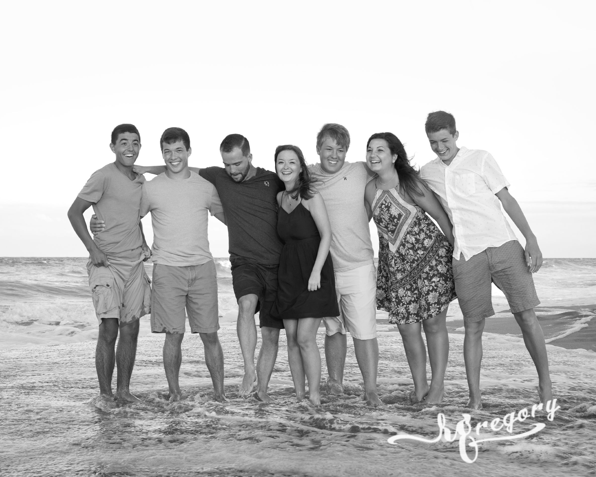 Owrey black and white professional family beach photography