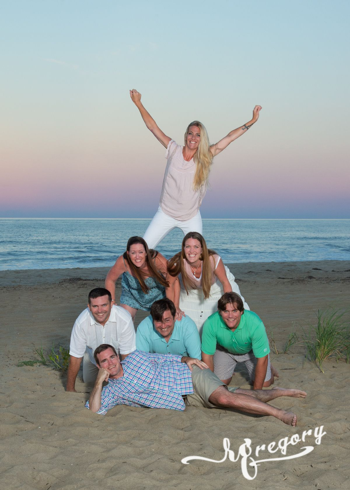 Woltjen family portrait pyramid on beach