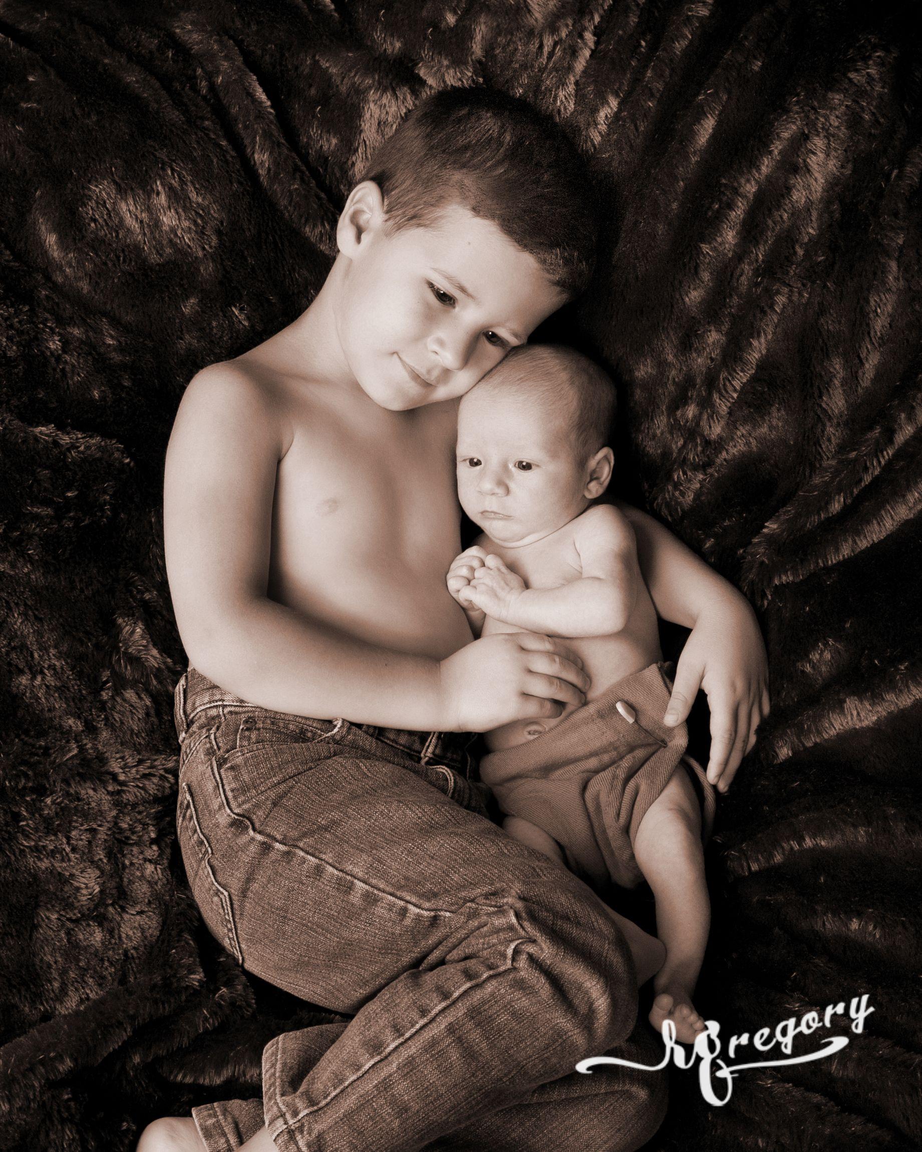 Dixon child and newborn sepia