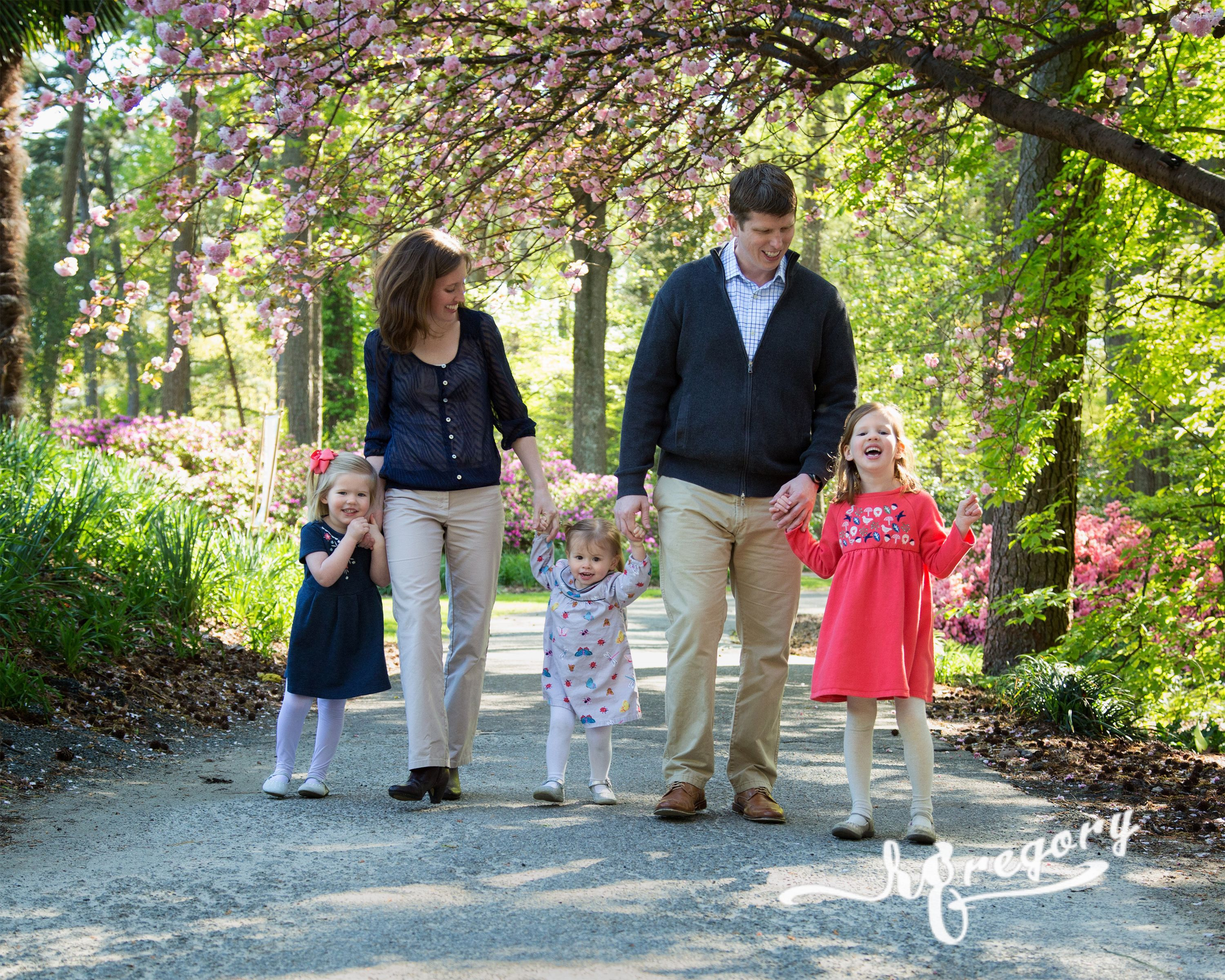 Mabrey family photo walking on path
