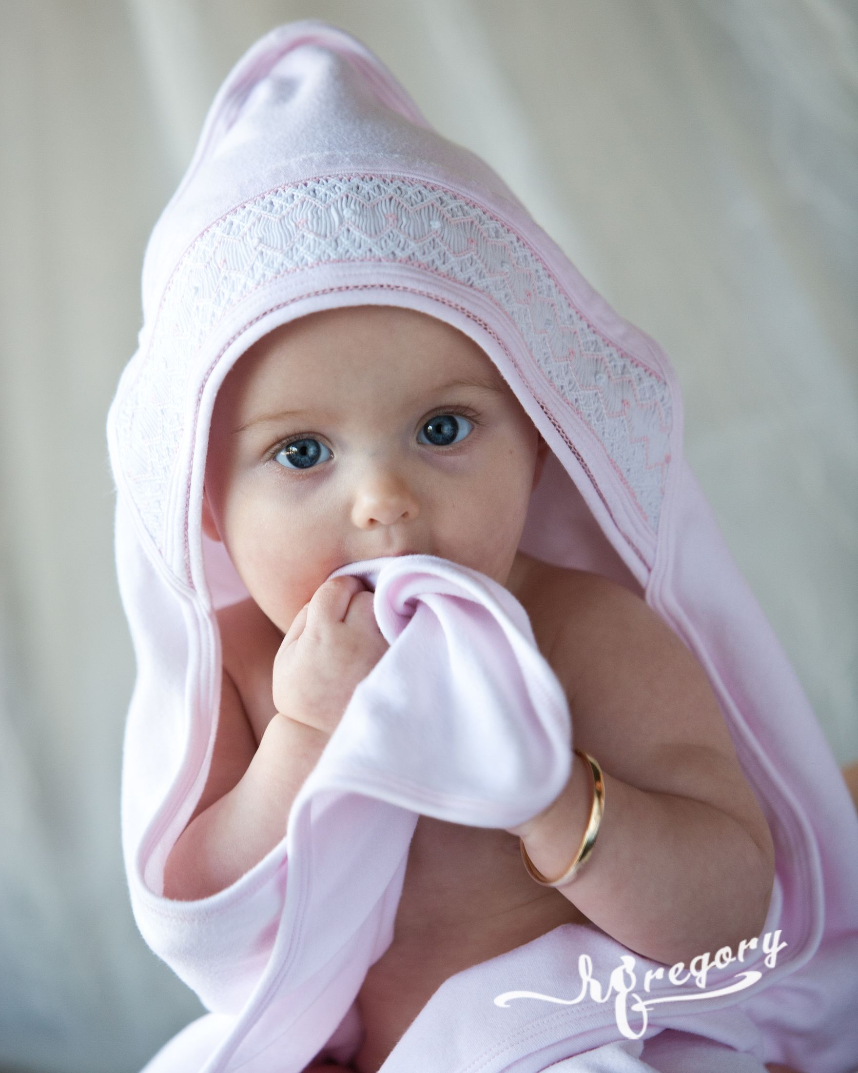 davis baby child photo with towel and bracelet