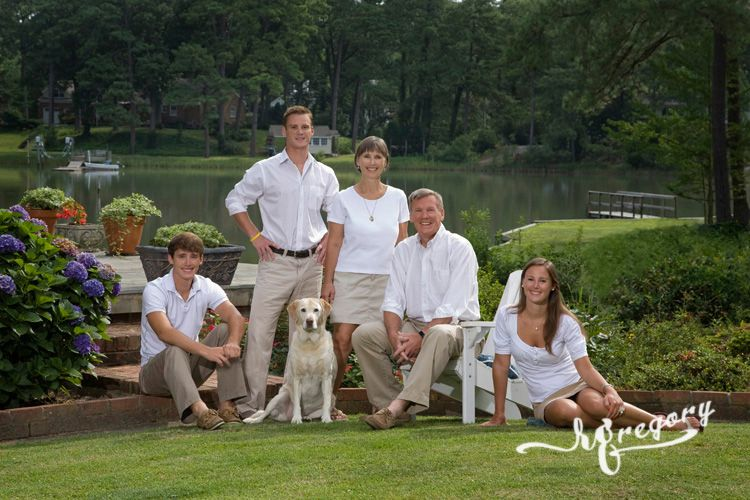 family botanical garden portrait with pet dog